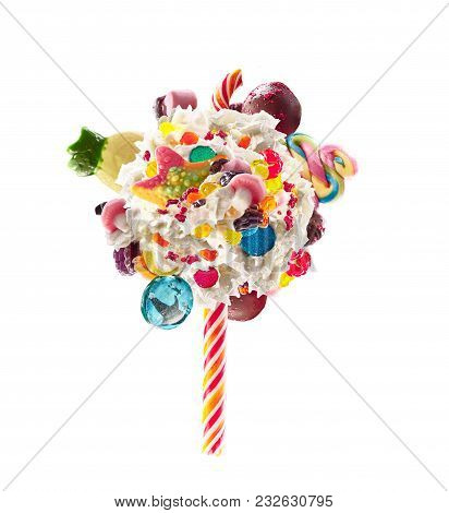 Whipped Cream Lolipop Concept. Round Whipped Milk Shake Cream Like Lollipop With Candy, Sweets And C