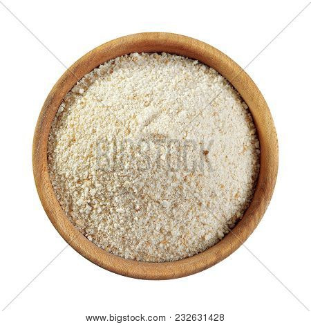 Bread Crumbs In Wooden Bowl Isolated On White Background, Top View