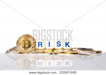 Conceptual Cryptocurrency Bitcoin With The Word Risk
