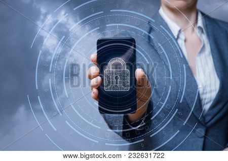 Businesswoman Shows Phone Lock Protection On Blue Background.