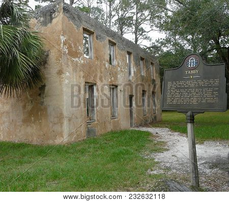 Jekyll Island, Georgia-october 17, 2017: Horton House Historic Site Features Tabby Ruins Of The 18th