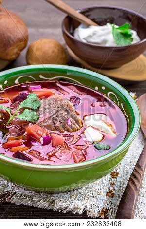 Bowl Of Borscht. First Dish With Beetroots, Cabbage And Beef. Traditional Russian And Ukrainian Cuis