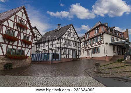 Ancient City Selingenstadt Is One Of The Oldest Cities In Germany.street With Old Colorful  Half-tim