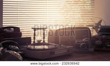 Vintage Objects Collection Next To A Window
