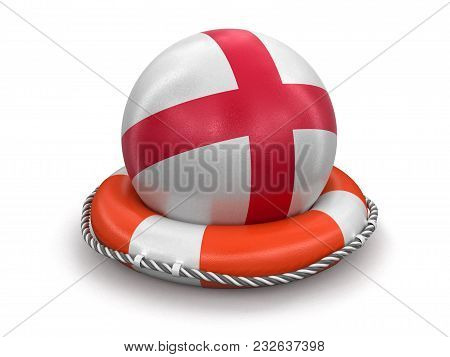 3d Illustration. Ball With English Flag On Lifebuoy. Image With Clipping Path