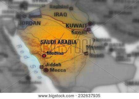 Saudi Arabia Officially The Kingdom Of Saudi Arabia, Ksa (black And White Selective Focus).