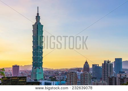 Taipei, Taiwan - August 29: View Of The Famous Taipei 101 Building In The Downtown Xinyi Financial D