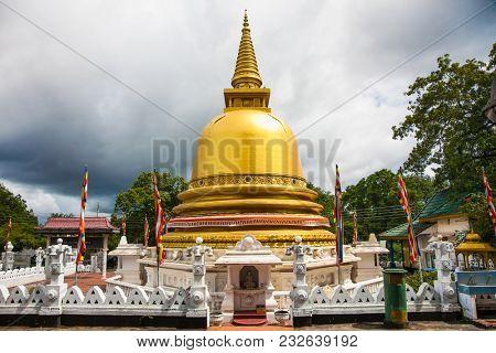 Golden pagoda in Dambulla city,  Sri Lanka.