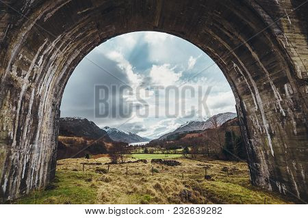 Glenfinnan Viaduct Arch,  Highlands, Scotland, United Kingdom.