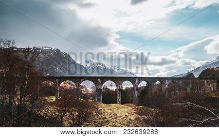 Famous Glenfinnan Viaduct,  Highlands, Scotland, United Kingdom.