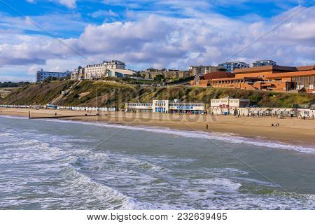 Bournemouth, United Kingdom - February 12: View Of Bournemouth Beach And Seaside Buildings On Februa