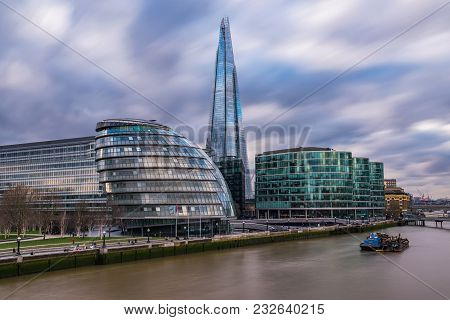 London, United Kingdom -january 30: This Is A View Of The Shard And The New City Hall Building Which