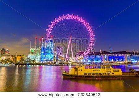 London, United Kingdom - January 17: Night View Of The Famous London Eye Ferris Wheel, A Popular Tou
