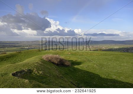 Brent Knoll Hill Fort With View Across The Somerset Levels To Bleadon Hill, Loxton Hill, Crook Peak