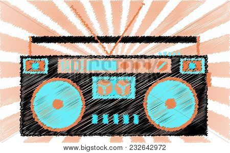 Retro, Old, Vintage, Hipster, Musical, Cassette Audio Recorder. Boombox Painted With Dashed Lines Ag
