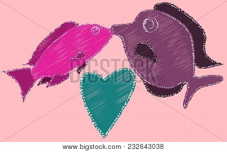 Kissing Fish And Heart Painted With Dashed Lines. Two Fish Kiss On A Pink Background. Vector Illustr