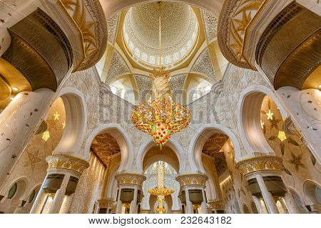 Sheikh Zayed Grand Mosque Abu Dhabi Chandelier Inside United Arab Emirates