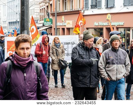 Strasbourg, France  - Mar 22, 2018: Crowd Walking Demonstration Protest Against Macron French Govern