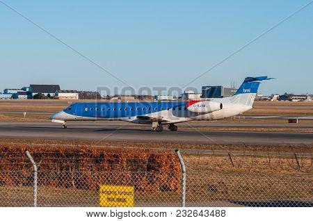 Copenhagen Denmark - March 18. 2018: Bmi Regional Embraer Erj-145 Airplane In Copenhagen Airport