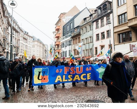 Strasbourg, France  - Mar 22, 2018: People At Demonstration Protest Against Macron French Government