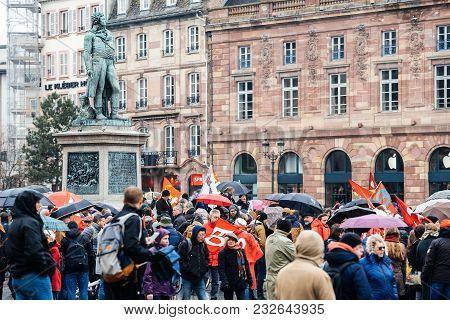 Strasbourg, France  - Mar 22, 2018: Place Kleber With People At Demonstration Protest Against Macron