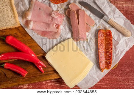 Ingredientes Preparations Of Traditional Portuguese Snack Food. Francesinha Sandwich Of Bread, Chees
