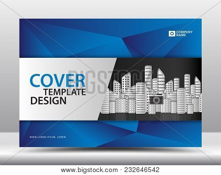 Blue Cover Template For Business Industry, Real Estate, Building, Home, Machinery. Horizontal Layout