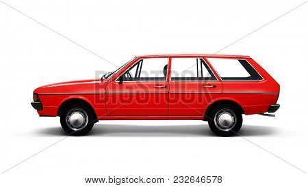 3D illustration of red retro car isolated on white background with path