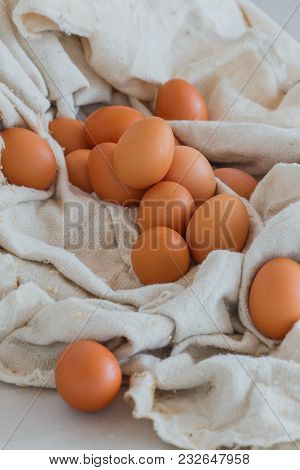 A Lot Of Yellow Eggs In The Fabric, Fresh Chicken Food