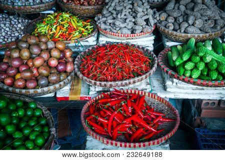 tropical spices and fruits sold at a local market in Hanoi (Vietnam)