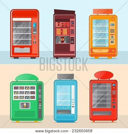 Vending Machine Set Isolated Vector Illustration. Cold Drink, Snack, Chips, Fast Food, Coffee And Ic