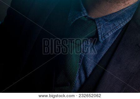 Male Green Knitted Tie On Blue Denim Shirt With Navy Blazer