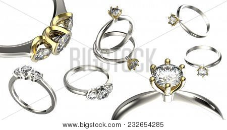 Collection luxury rings with gemstone.   Diamond. Jewelry background. 3d illustration