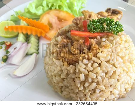 Rice With Chili Is A Delicious Thai Food.