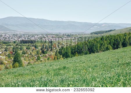 In The Foreground There Are Nature, Trees, Mountains, In The Background There Is City