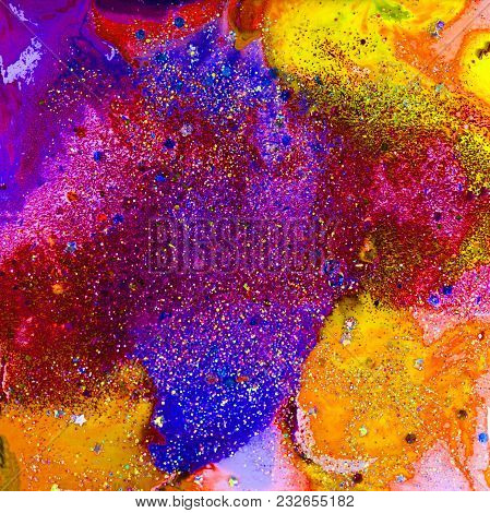 Purple And Yellow Abstract Composition With Alcohol Inks And Fine And Chunky Glitter In Epoxy.