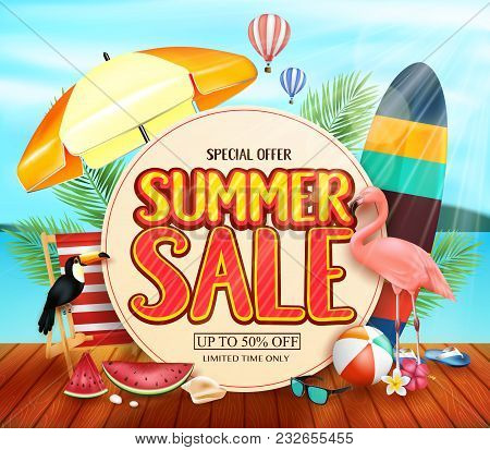 Summer Sale With Yellowish Circle For Text With Palm Leaves, Umbrella, Surfboard, Flamingo, Toucan,