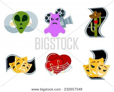 Cinema Genre Icons Set Cinematography Flat Entertainment Comedy Drama Thriller Movie Production Symb