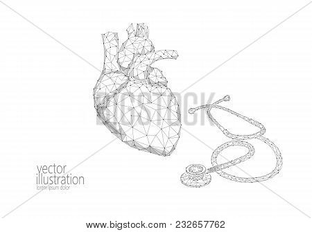 World Heart Health Day Awareness Infarct Attack Prevent. Medicine Low Poly Render Human Organ Stetho