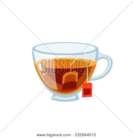Transparent Glass Cup Full Of Tea, With Tea Bag. Vector Illustration Cartoon Flat Icon Isolated On W