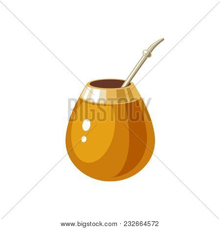 Mate. Traditional Calabash Gourd And Bombilla. Vector Illustration Cartoon Flat Icon Isolated On Whi