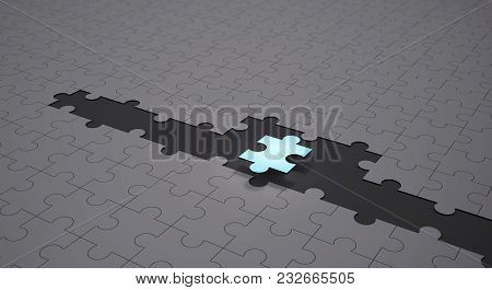 Leadership And Teamwork Conceptual Background, Blue Jigsaw Puzzle Pieces With One Piece Glowing, 3d