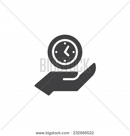 Clock On Hand Vector Icon. Filled Flat Sign For Mobile Concept And Web Design. Hand Hold Watch Simpl