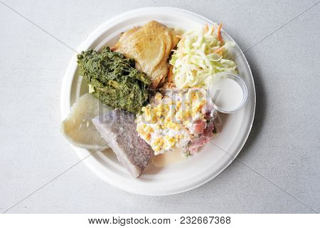 Flat Lay View Of Cook Island Potato Salad (mainese) Traditional Dish Serve In A Plate In Rarotonga C
