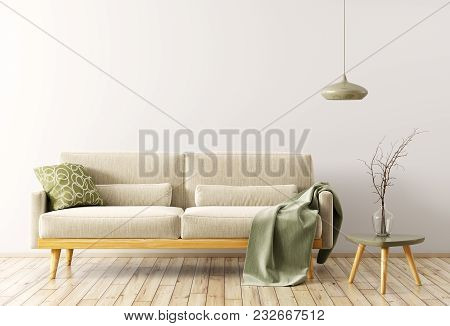 Modern Interior Of Living Room With Velours Sofa, Wooden Coffee Table And Lamp 3d Rendering
