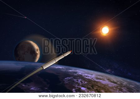 Hypersonic Missile Over The Earth
