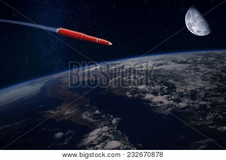 Hypersonic Missile Or Rocket Over The Apocalyptic Earth. A Comet Runs In The Space. Elements Of This
