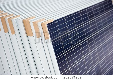 Alternative Electricity Source. Stack Of Photovoltaic Solar Panels. Renewable Energy Production Modu