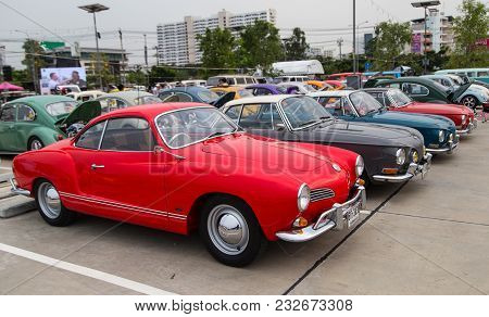 Nonthaburi, Thailand - March 10, 2018: Vw Karmann Ghia Show In Volkswagen Club Meeting At Car Park O