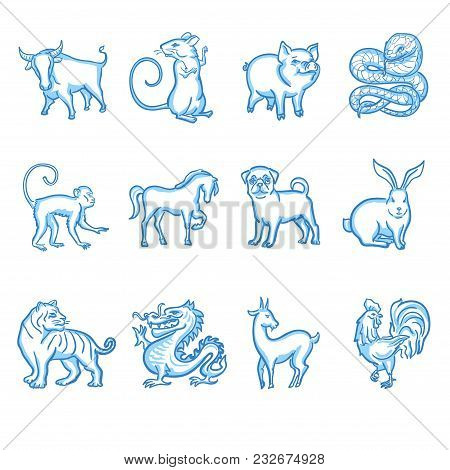Chinese Zodiac Calendar Signs. Ox, Mouse Or Rat, Pig, Snake, Monkey, Horse, Dog, Rabbit, Tiger, Drag